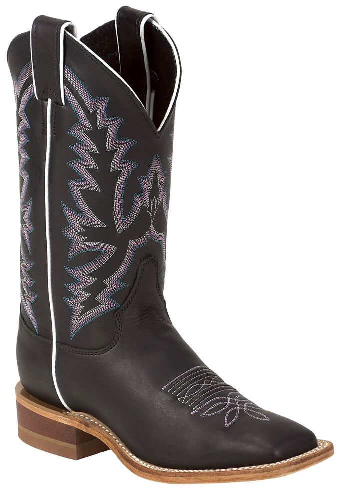 Justin Bent Rail Women's Kenedy Black Burnished Cowgirl Boots - Square Toe, Black, hi-res