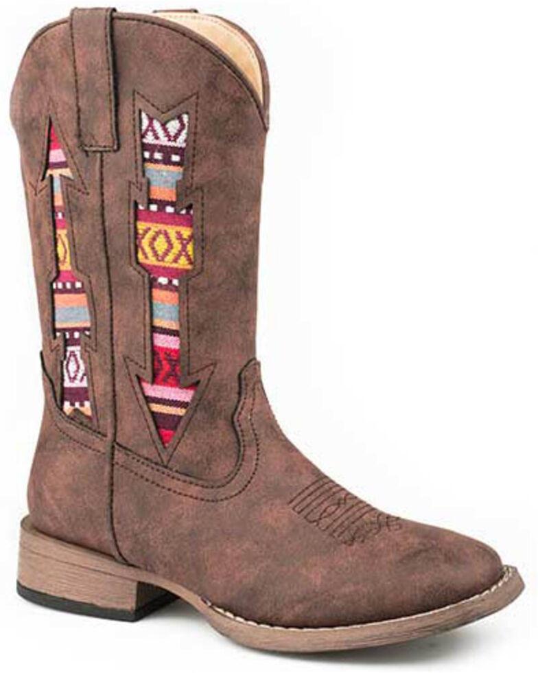 Roper Boys' Aztec Arrow Western Boots - Square Toe, Brown, hi-res