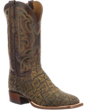 Lucchese Men's Handmade Carrington Saddle Tan Elephant Cowboy Boots - Square Toe, Tan, hi-res