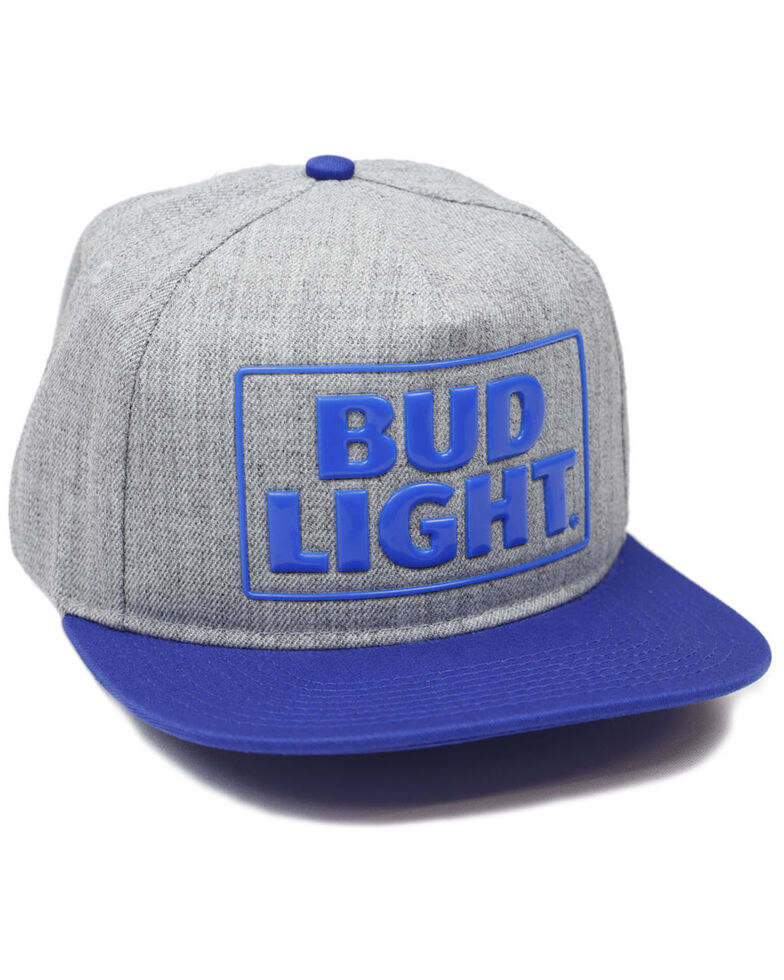H Bar C Men's Bud Light Rubber Weld Logo Embroidered Ball Cap  , Heather Grey, hi-res