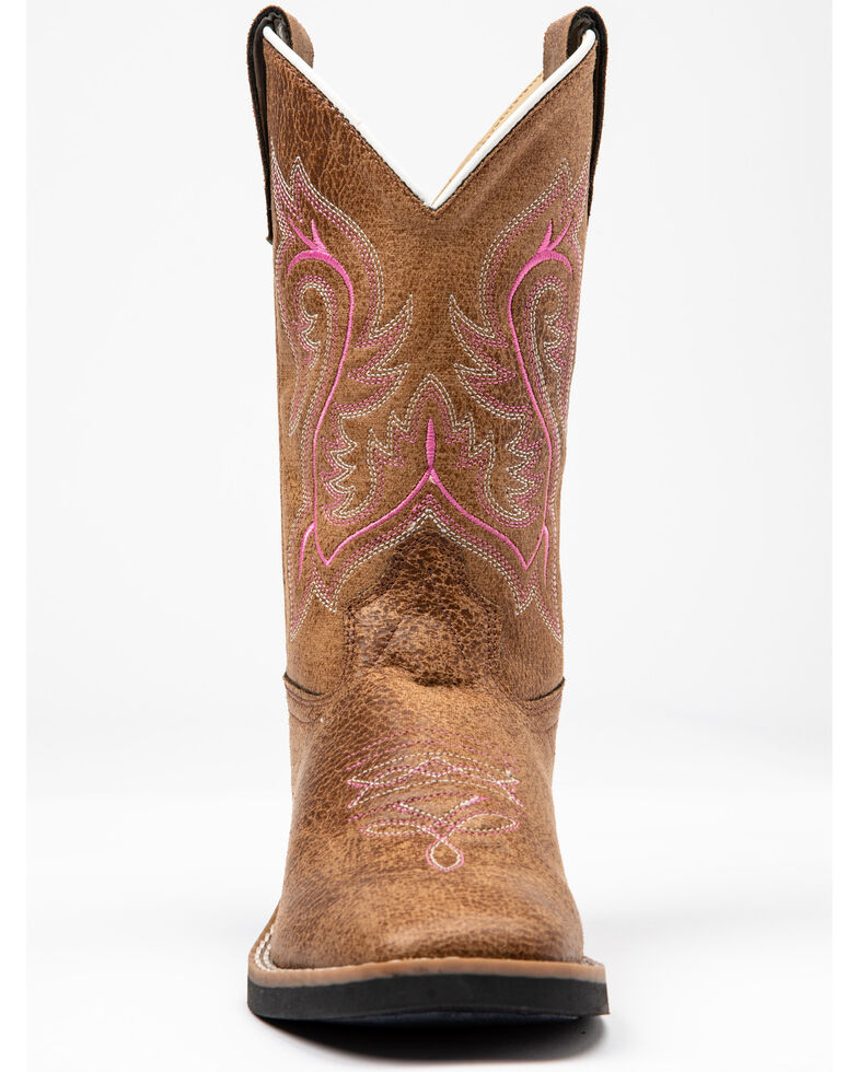 Shyanne Girls' Madison Synthetic Genuine Leather Western Boots - Square Toe , Brown/pink, hi-res