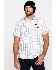 Wrangler All-Terrain Men's Morel Plaid Asymmetric Short Sleeve Western Shirt  , Brown, hi-res