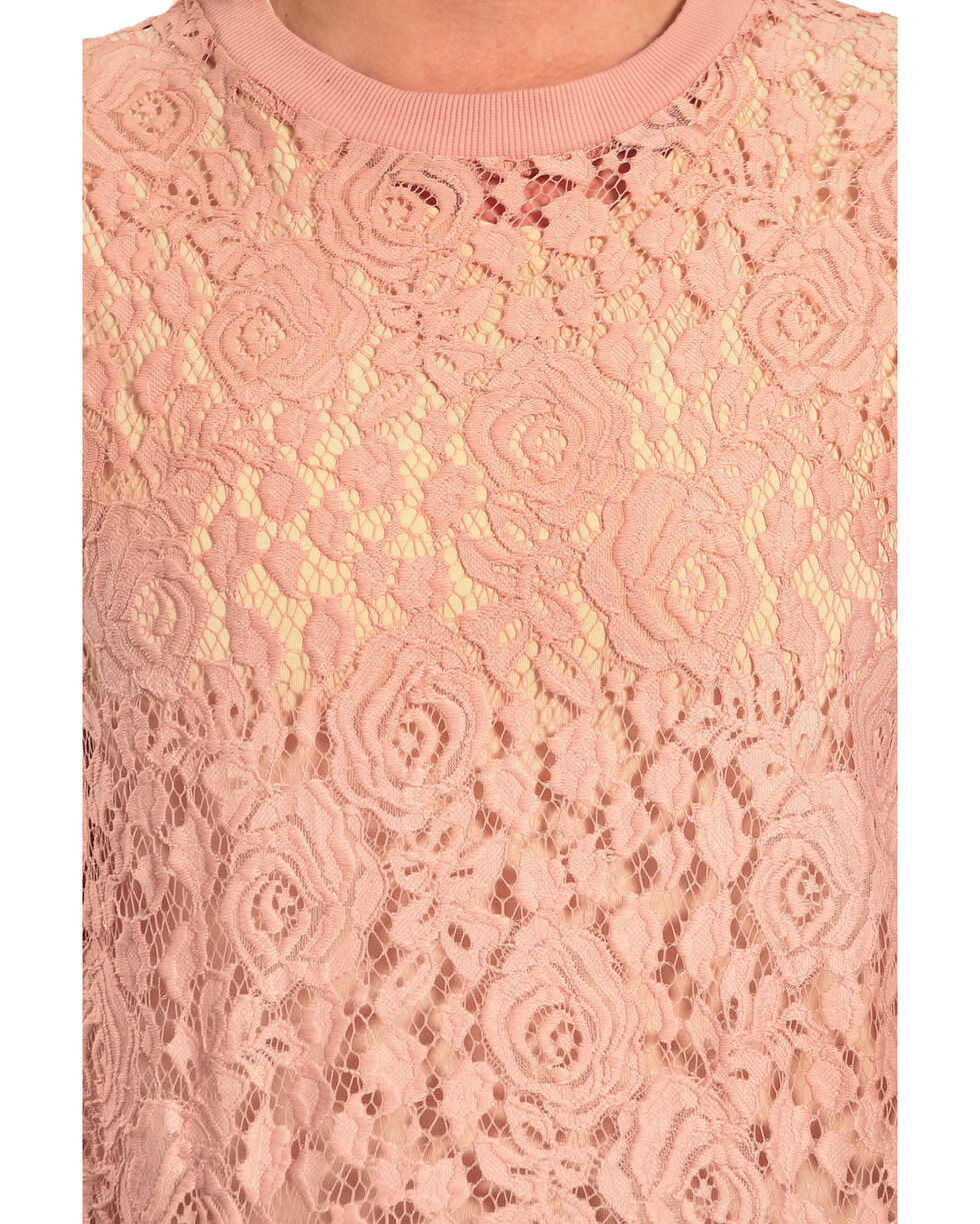 Eyeshadow Women's Allover Lace Crew Sweater, Blush, hi-res