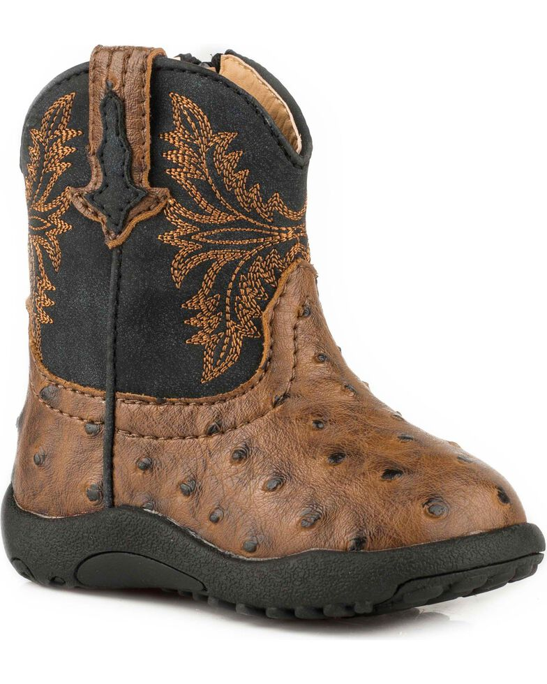 Roper Infant Boys' Jed Brown Ostrich Print Cowbabies Pre-Walker Boots - Round Toe, Brown, hi-res