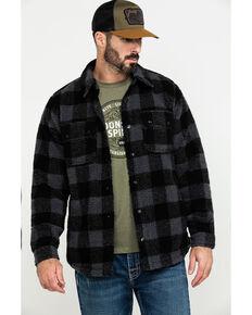 Moonshine Spirit Men's Wood Bison Buffalo Plaid Sherpa Shirt Jacket , Black, hi-res