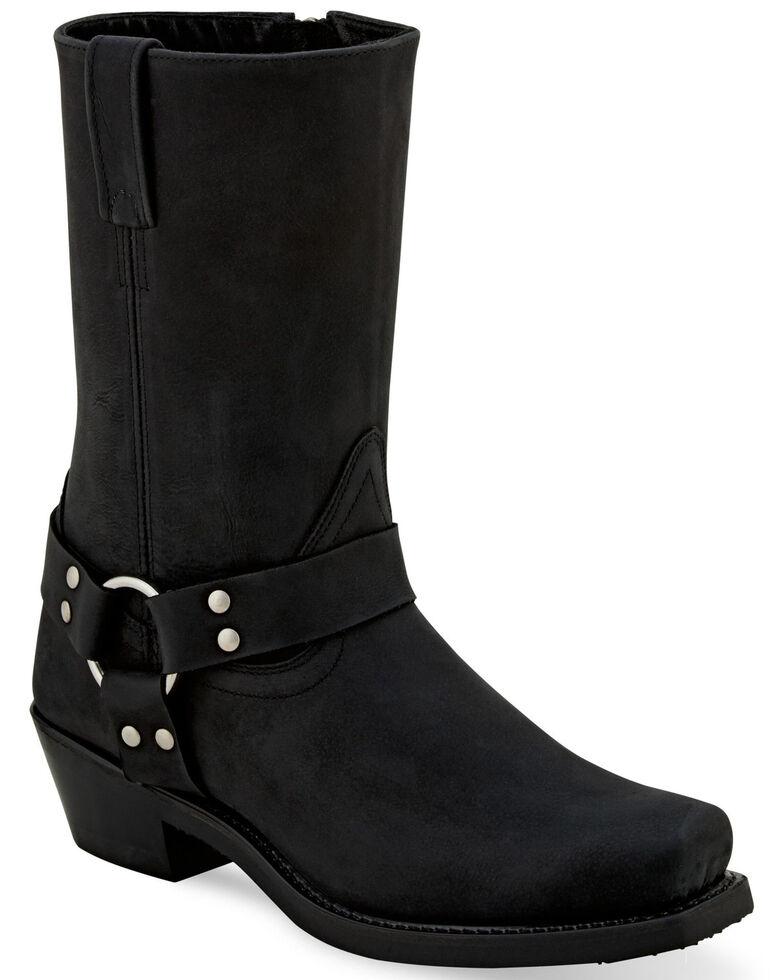 Old West Women's Black Harness Moto Boots - Square toe, Black, hi-res
