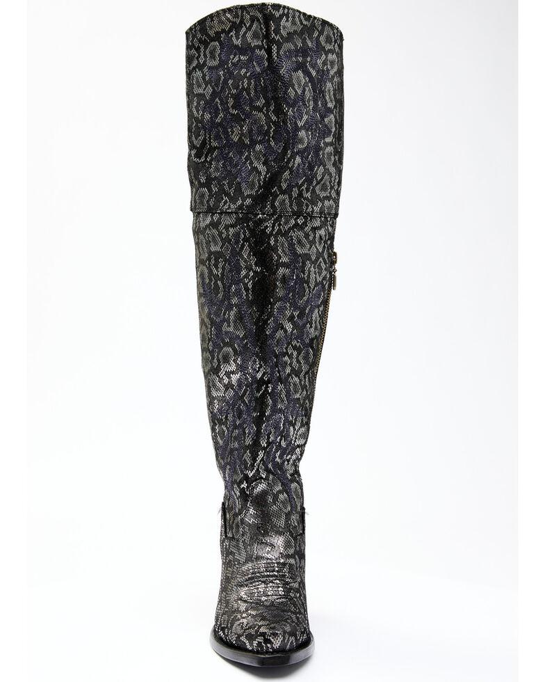 Dan Post Women's Black Snake Print Western Boots - Snip Toe, Silver, hi-res