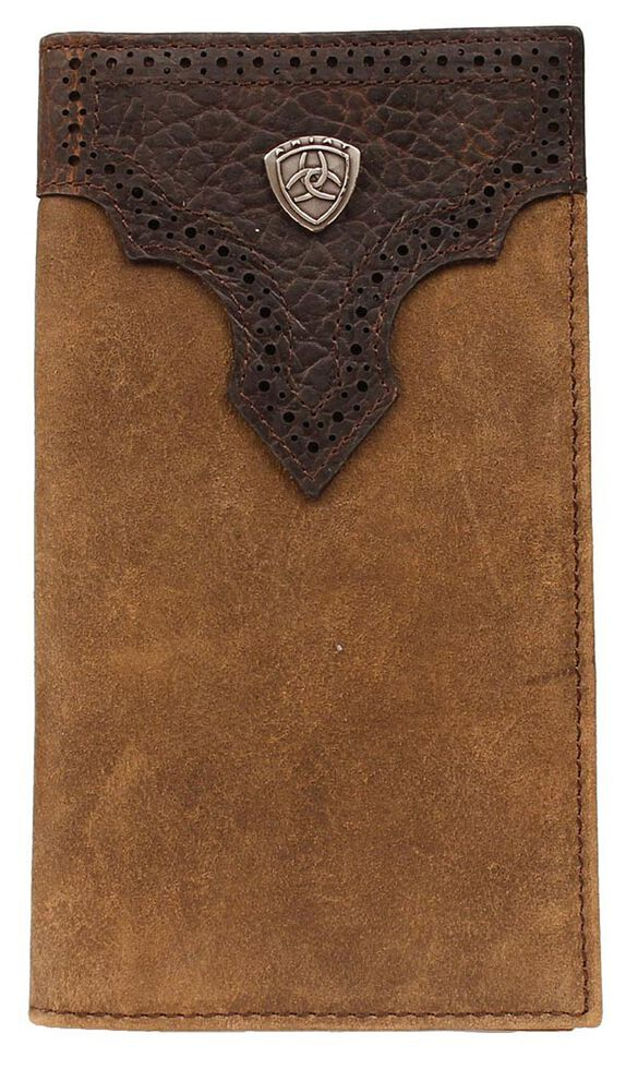 Ariat Logo Concho Overlay Rodeo Wallet, Med Brown, hi-res