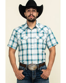 Cody James Men's Duck Spinner Plaid Short Sleeve Western Shirt , White, hi-res