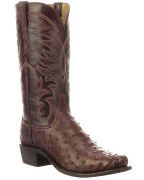 Lucchese Men's Hugo Full-Quill Ostrich Western Boots - Square Toe, Mahogany, hi-res