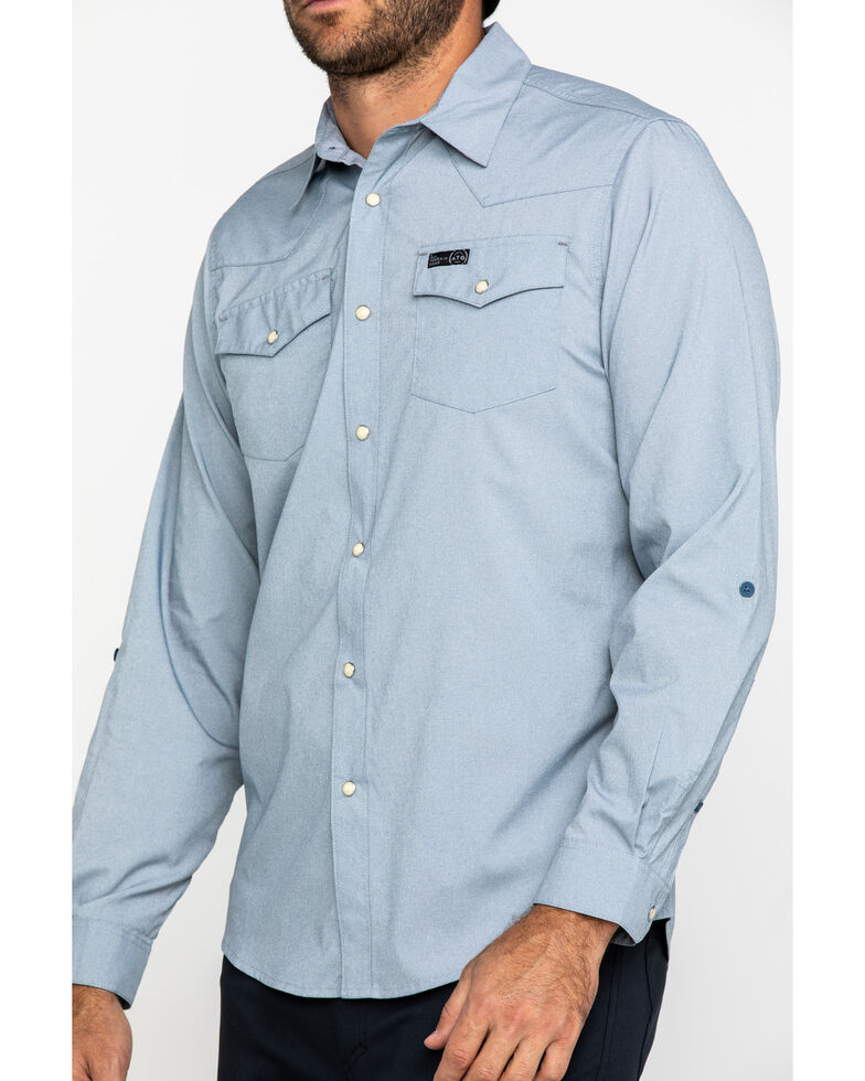 ATG By Wrangler Men's Bering Sea Solid Long Sleeve Western Shirt , Blue, hi-res