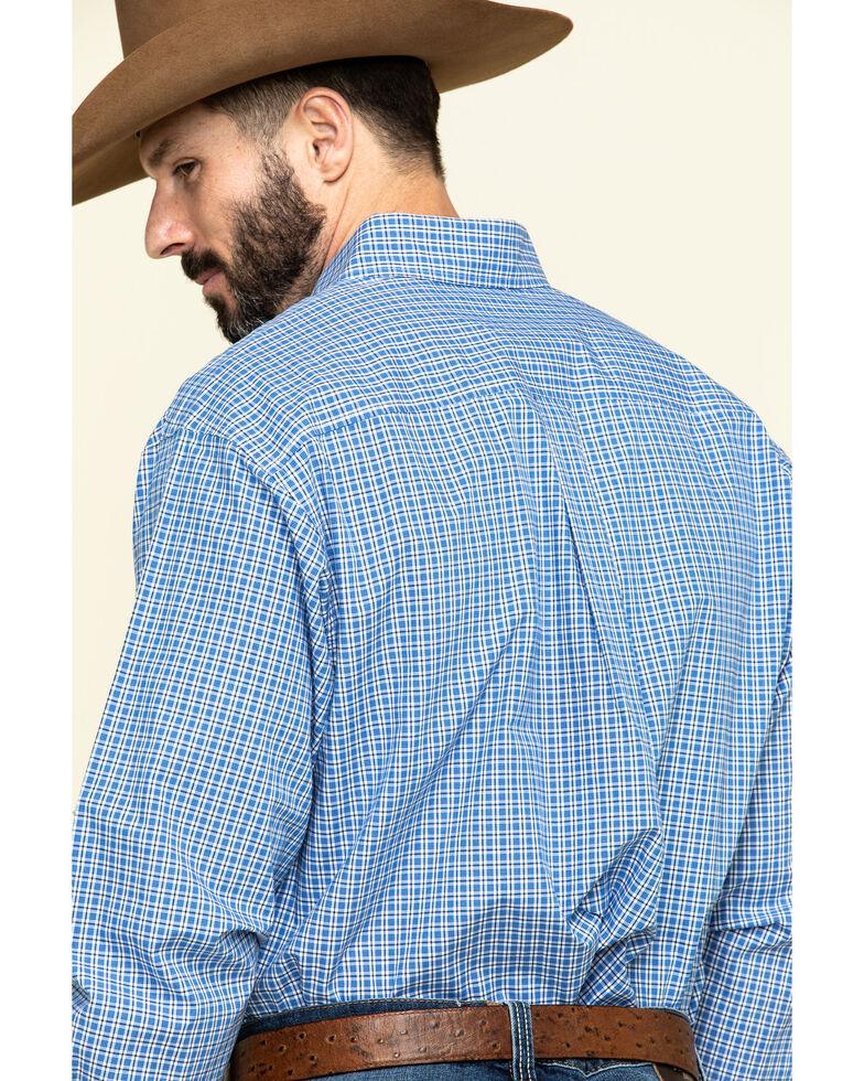 Cinch Men's Royal Blue Small Plaid Button Long Sleeve Western Shirt - Big , Royal Blue, hi-res