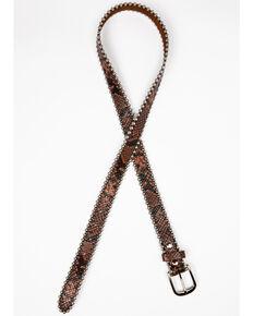 Shyanne Women's Snake Print Skinny Belt, Brown, hi-res