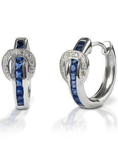 Kelly Herd Women's Blue Contemporary Buckle Hoop Earrings , Silver, hi-res
