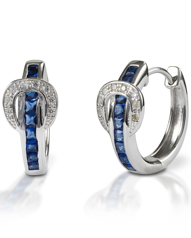 Kelly Herd Women's Blue Contemporary Buckle Hoop Earrings , Silver, hi-res