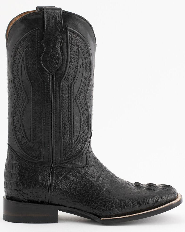 Ferrini Caimain Tail Cowboy Boots - Wide Square Toe, Black, hi-res