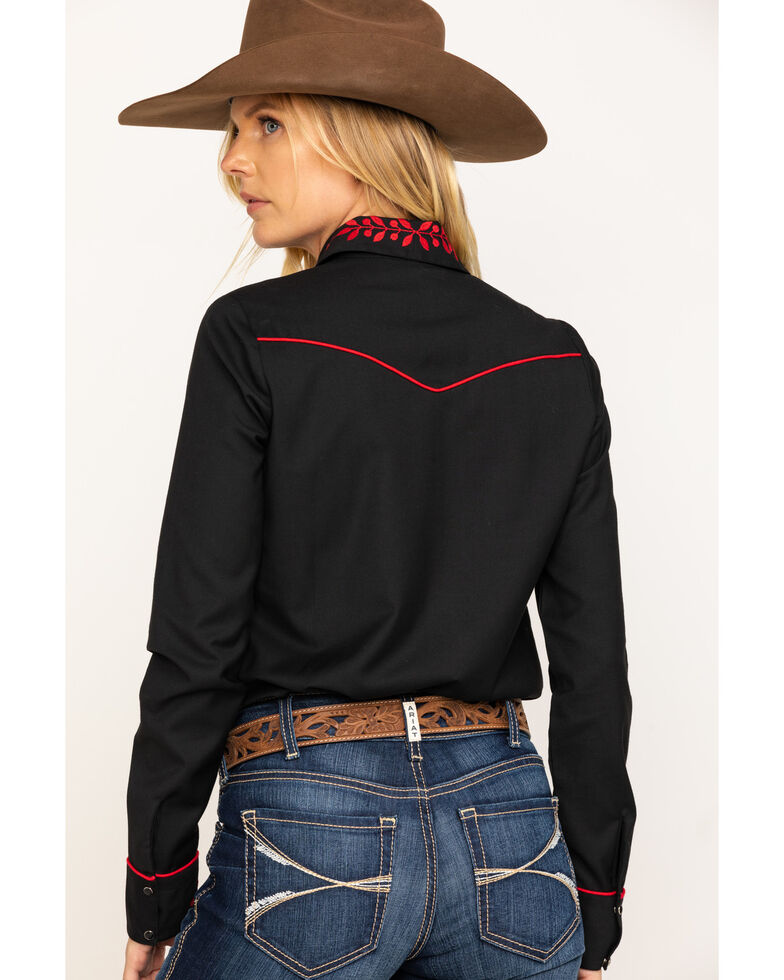 Roper Women's Black Red Rose Embroidered Rodeo Shirt , Black, hi-res