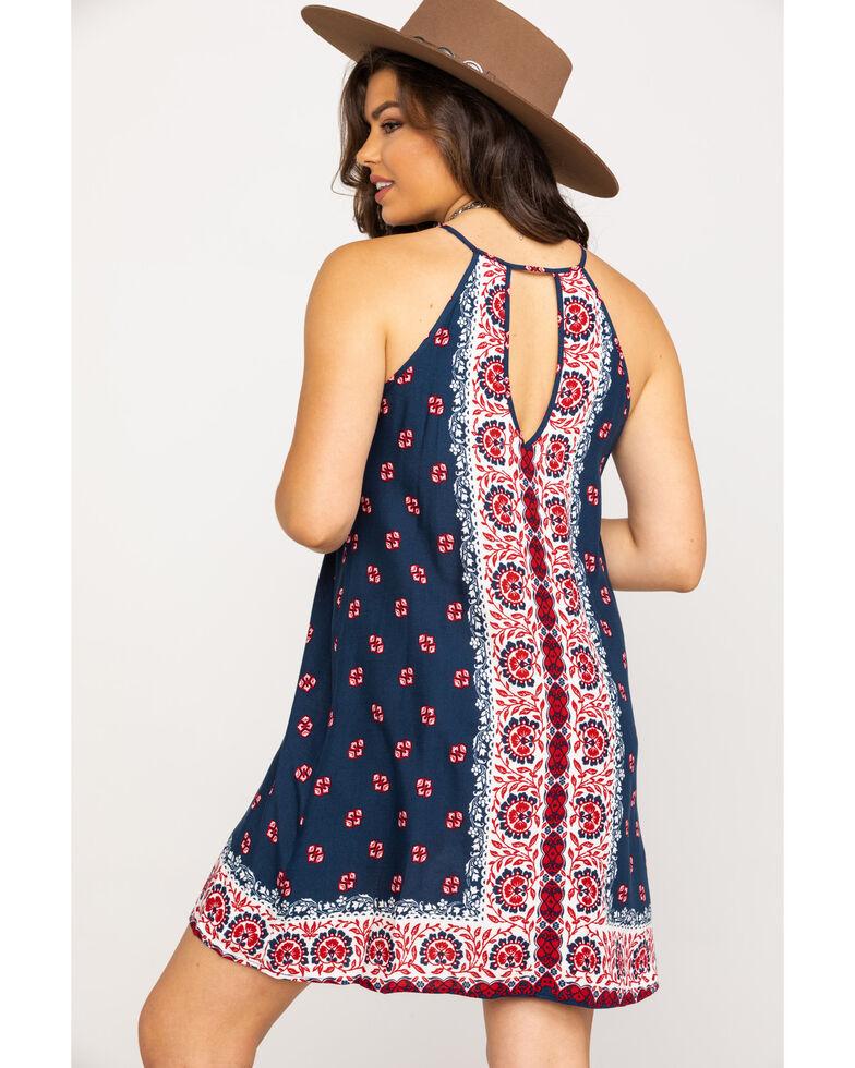 Stetson Women's Bandana Scarf Print Halter Dress, White, hi-res