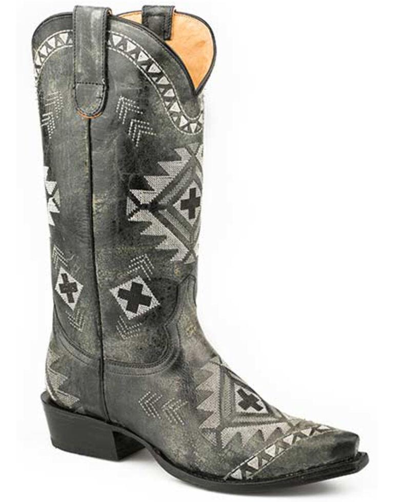 Roper Women's Aztec Embroidery Western Boots - Snip Toe, Black, hi-res