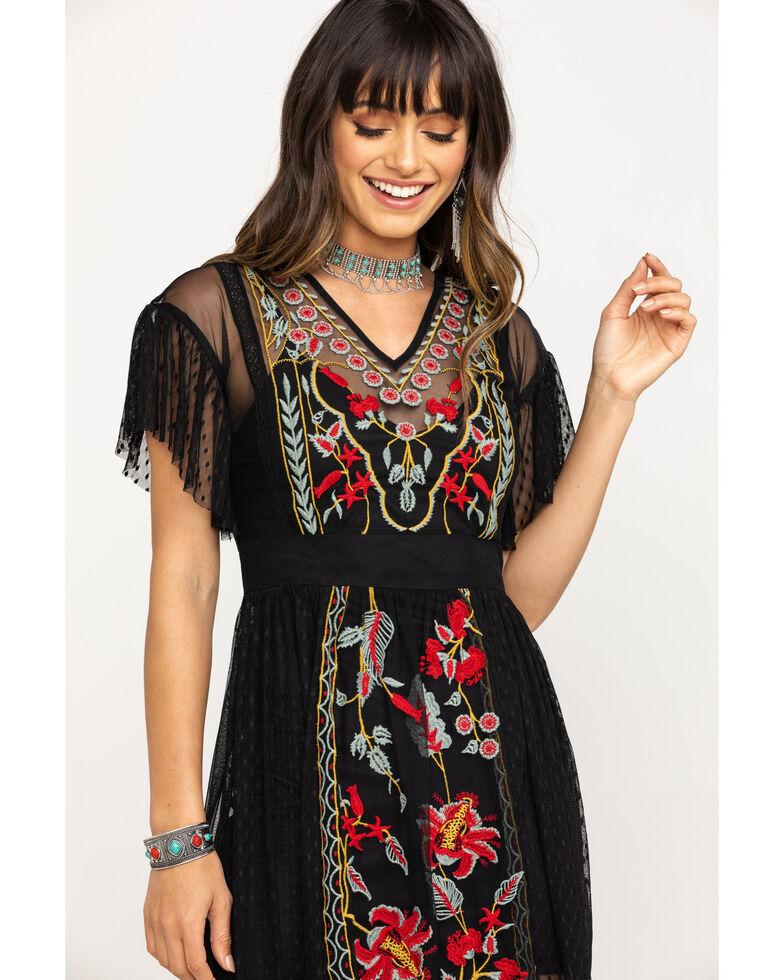 Band of Gypsies Women's Black Puebla Embroidered Dress, Black, hi-res