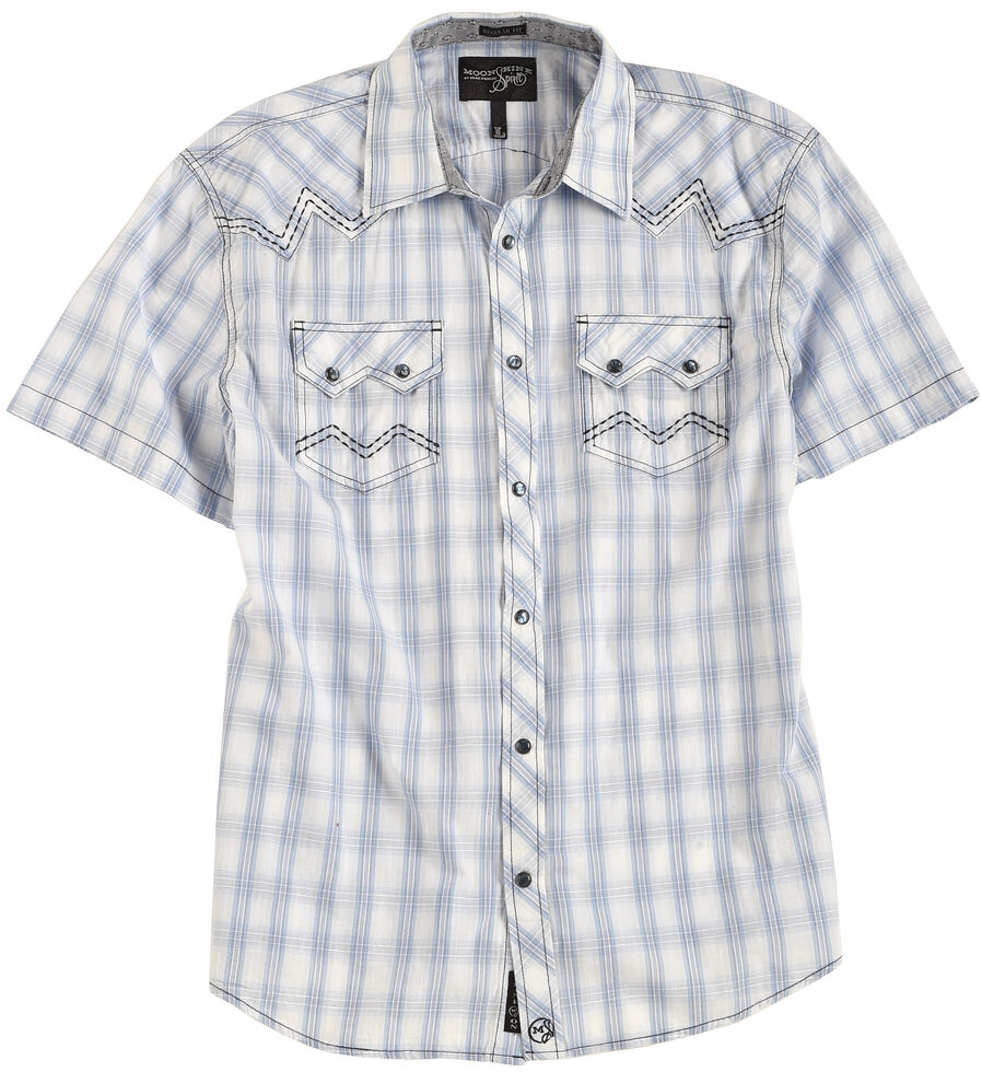 Moonshine Spirit Men's Sonata Creek Plaid Short Sleeve Western Shirt, White, hi-res