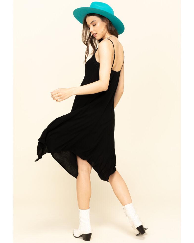 Jody of California Women's Solid V-Neck Hanky Hem Midi Dress, Black, hi-res