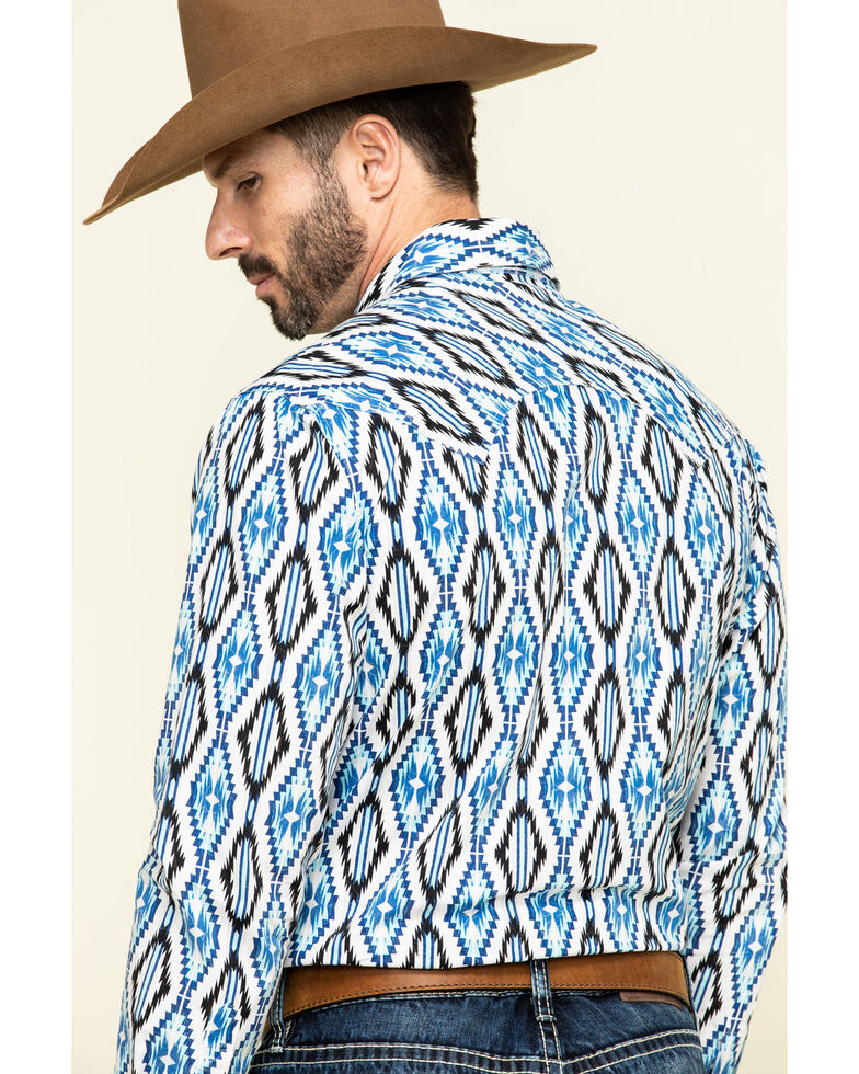Rock & Roll Denim Men's White Aztec Print Long Sleeve Western Shirt , Blue, hi-res