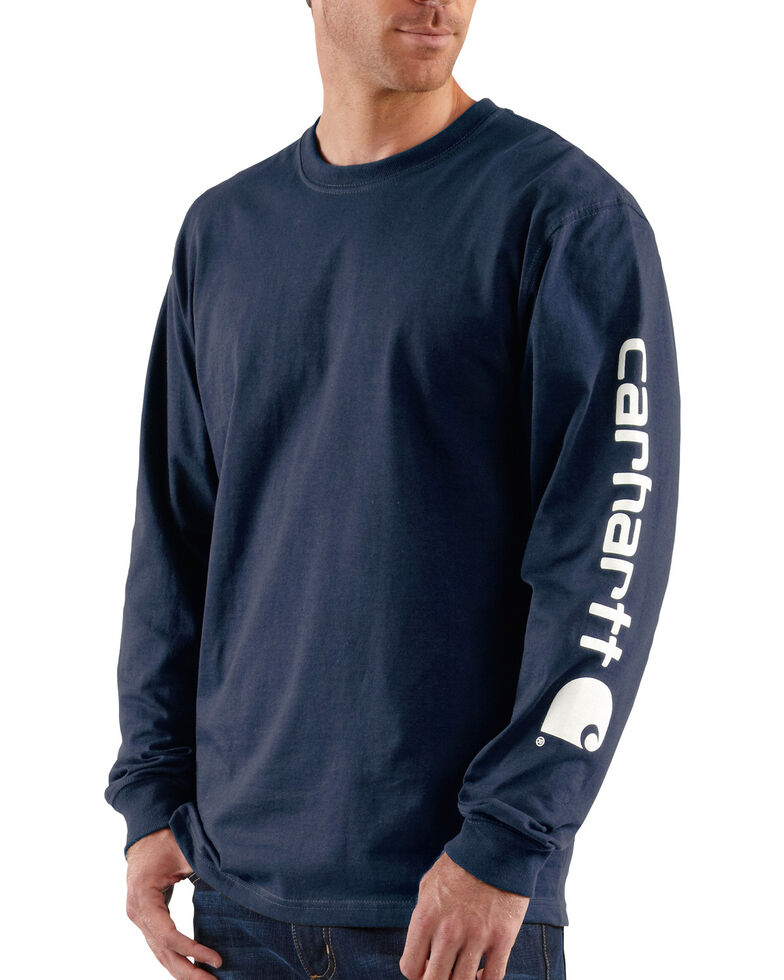 Carhartt Signature Logo Sleeve Knit T-Shirt, Navy, hi-res