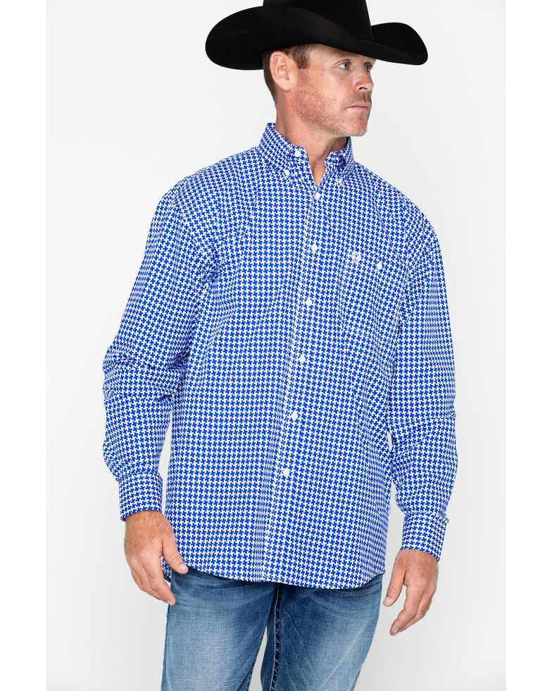 George Strait by Wrangler Men's Large Geo Print Long Sleeve Western Shirt , Blue/white, hi-res