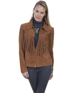 Leatherwear By Scully Women's Cinnamon Boar Suede Studded Fringe Jacket , Brown, hi-res
