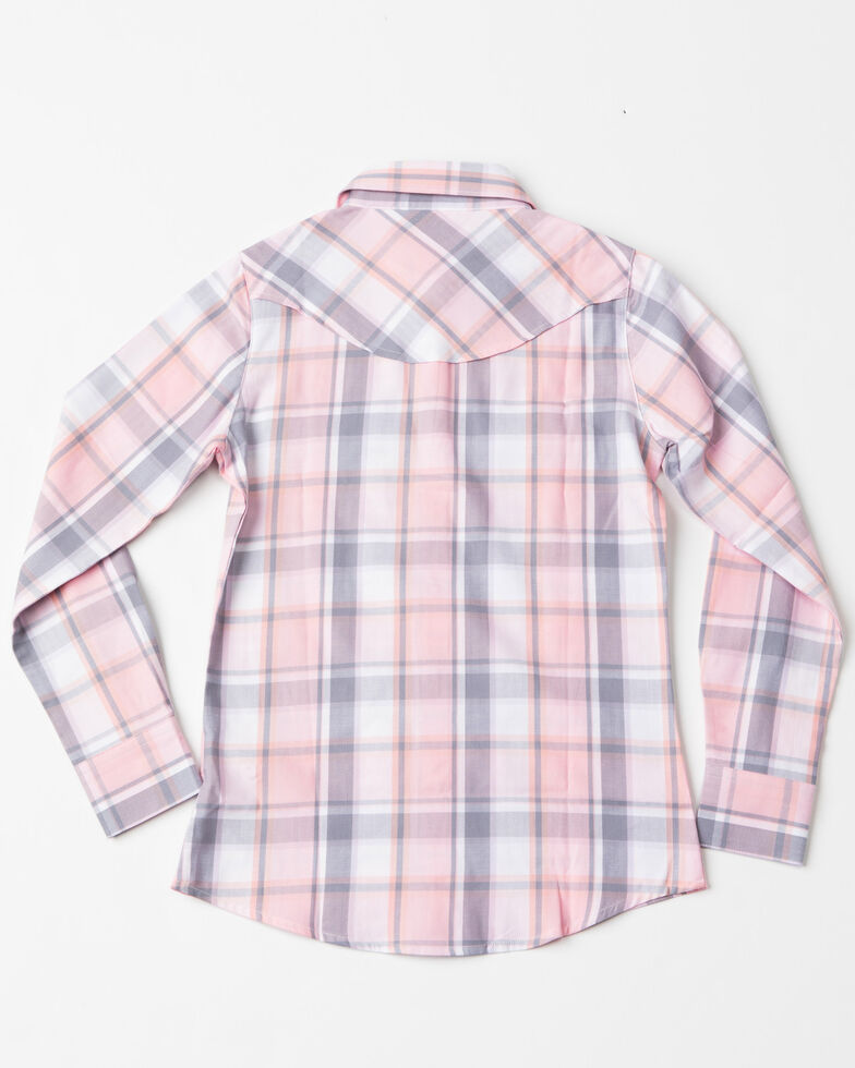 Shyanne Girls' Plaid Horse Embroidered Long Sleeve Western Shirt , Pink, hi-res