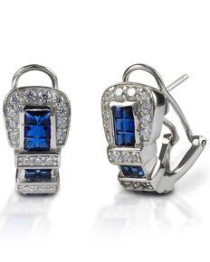 Kelly Herd Women's Blue Ranger Style Buckle Earrings , Silver, hi-res
