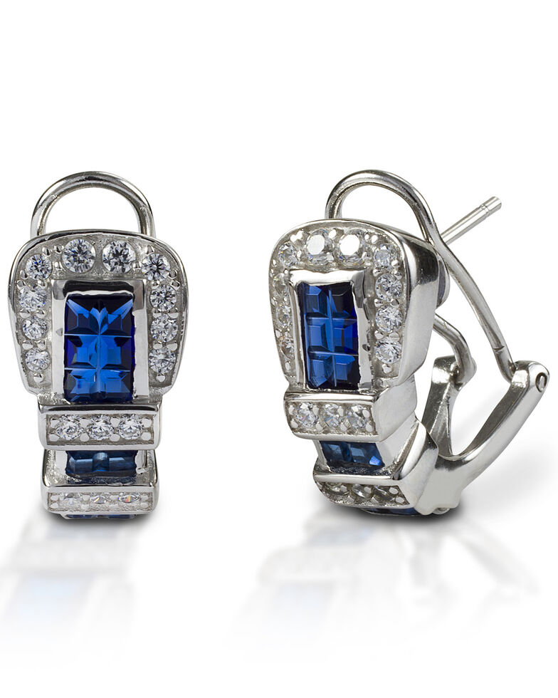 Kelly Herd Women's Blue Ranger Style Buckle Earrings , Silver, hi-res