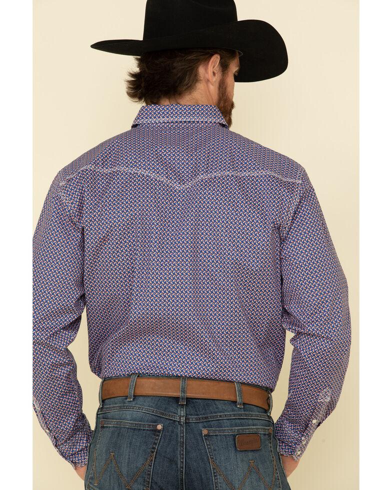 Wrangler 20X Men's Advanced Comfort Blue Small Geo Print Long Sleeve Western Shirt , Blue, hi-res