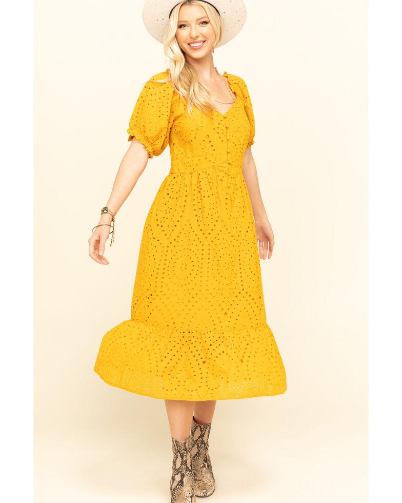Loveriche Women's Mustard Eyelet Maxi Dress, Mustard, hi-res
