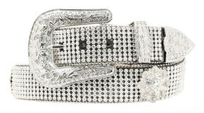 Nocona Wide Rhinestone Mesh Belt, Black, hi-res