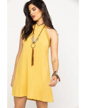 Eyeshadow Women's Mustard Halter Swing Dress, Dark Yellow, hi-res