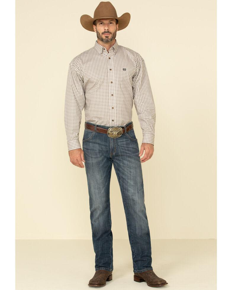 Panhandle Select Men's Tan Poplin Geo Print Long Sleeve Western Shirt , Tan, hi-res