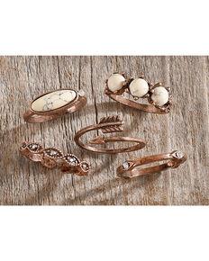 Shyanne Women's Copper Bone Stackable Ring Set, Rust Copper, hi-res