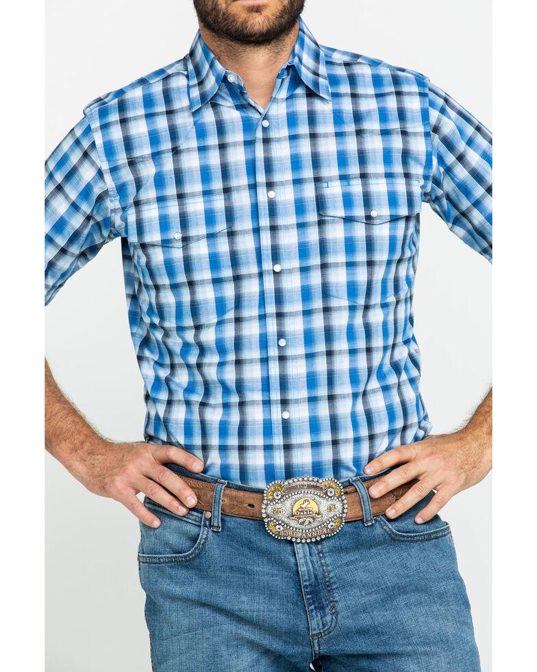 Wrangler Men's Wrinkle Resist Navy Plaid Short Sleeve Western Shirt , Navy, hi-res