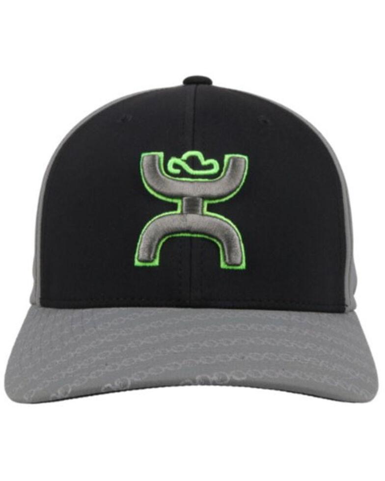 HOOey Men's Solo Solid Back Flex Fit Ball Cap , Black, hi-res