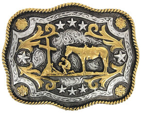 Cody James Men's Christian Cowboy Rectangle Belt Buckle, Silver, hi-res