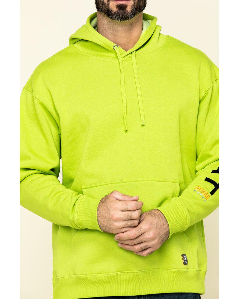 Ariat Men's Lime Heather Rebar Graphic Hooded Work Sweatshirt , Green, hi-res