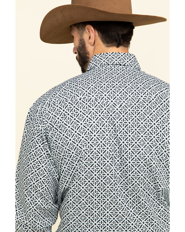 George Strait by Wrangler Troubadour Black Geo Print Long Sleeve Western Shirt - Tall , Black, hi-res