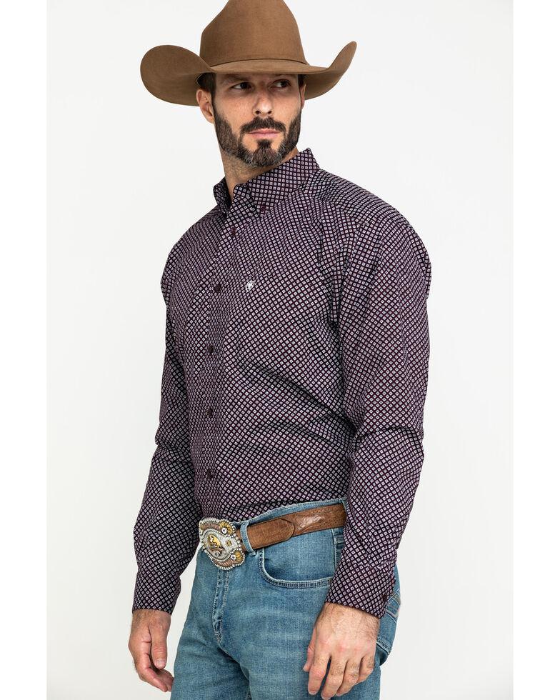 Ariat Men's Largo Small Geo Print Long Sleeve Western Shirt - Tall , Brown, hi-res