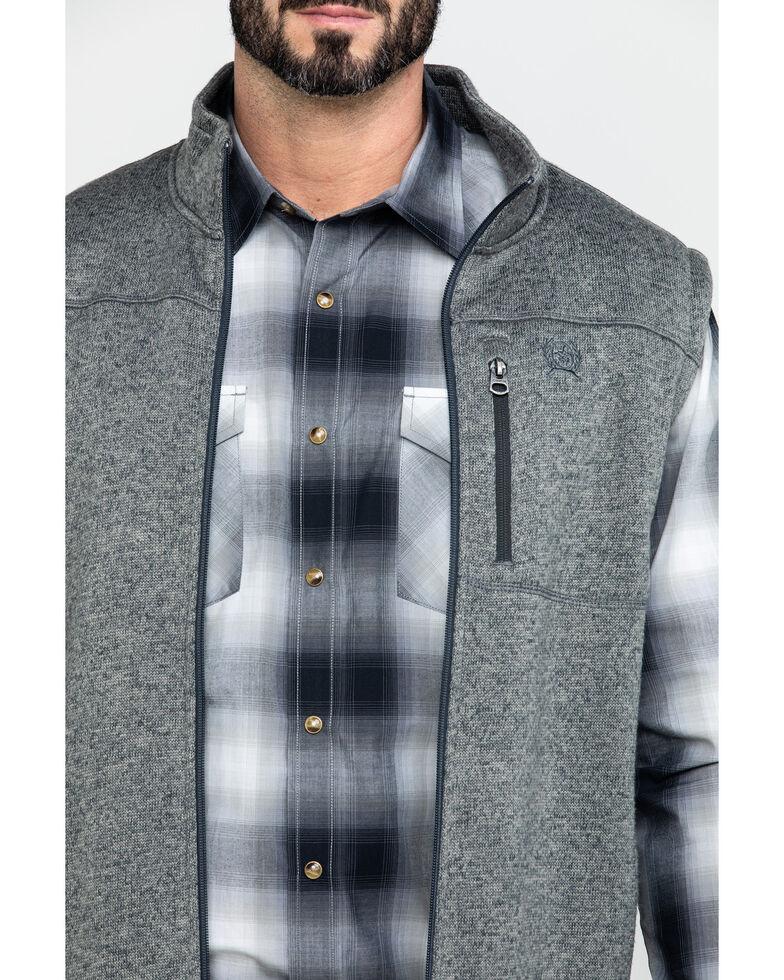 Cinch Men's Heather Grey Full Zip Fleece Sweater Vest , Heather Grey, hi-res