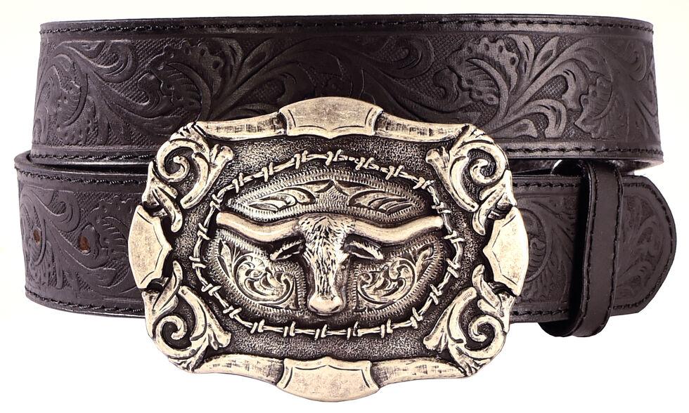 AndWest Men's Western Tooled Longhorn Belt, Black, hi-res