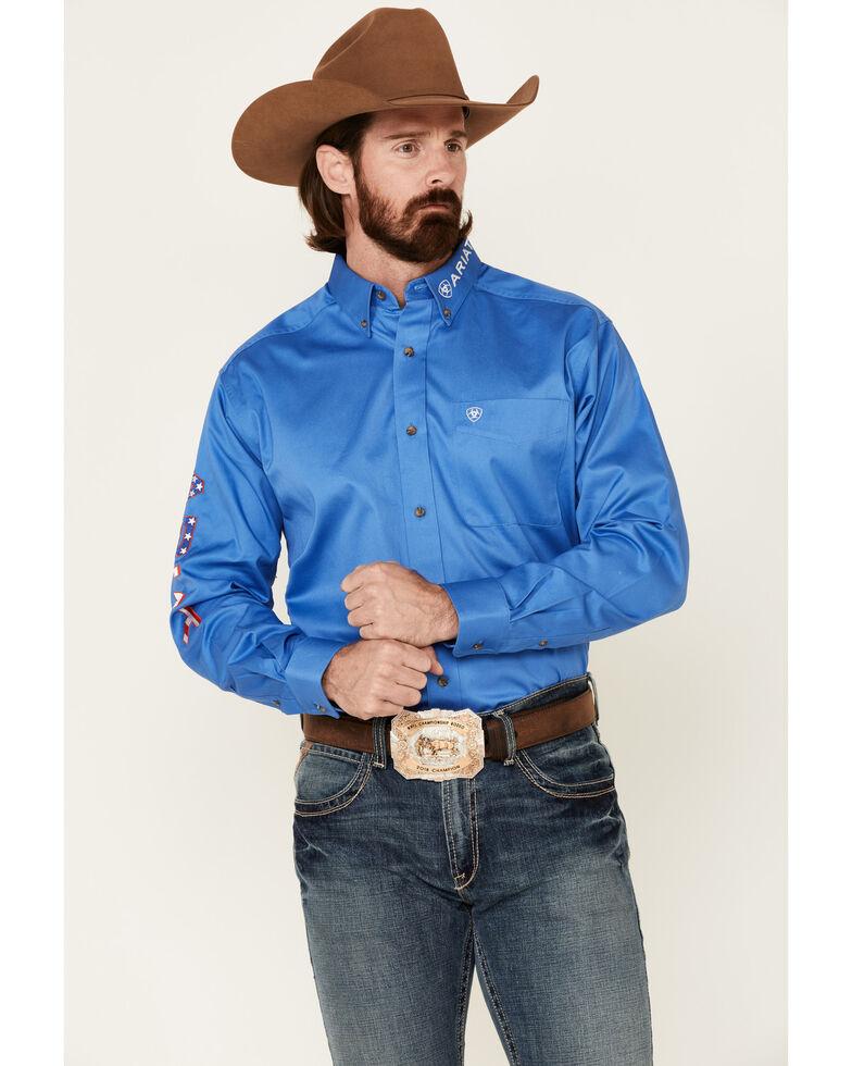 Ariat Men's Blue Team Logo Button Long Sleeve Western Shirt , Blue, hi-res