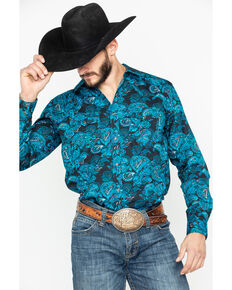 Cody James Men's El Matador Paisley Print Long Sleeve Western Shirt - Big , Black, hi-res