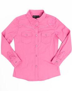 Shyanne Girls' Pink Rhinestone Long Sleeve Western Shirt, Pink, hi-res